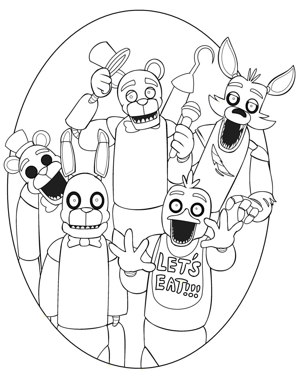Amazing Idea Fnaf Coloring Pages Printable Five Nights At