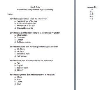 Speak By Anderson 16 Comprehension Quizzes Comprehension Reading Comprehension Quizzes