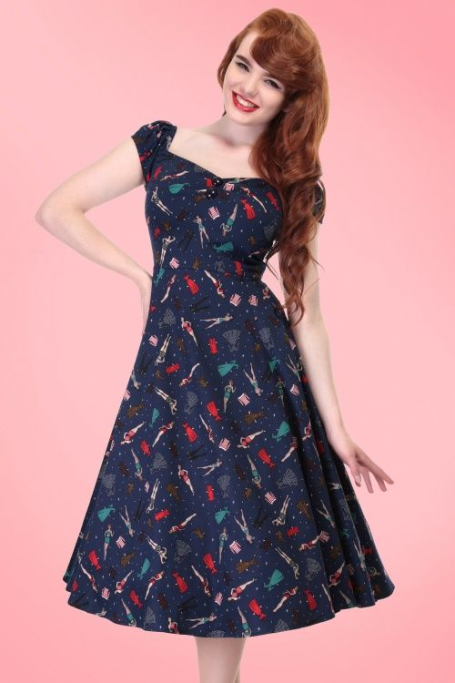 newest 46b19 d4f3b Collectif Clothing - 50s Dolores Paper Pin Up Doll Dress in Navy
