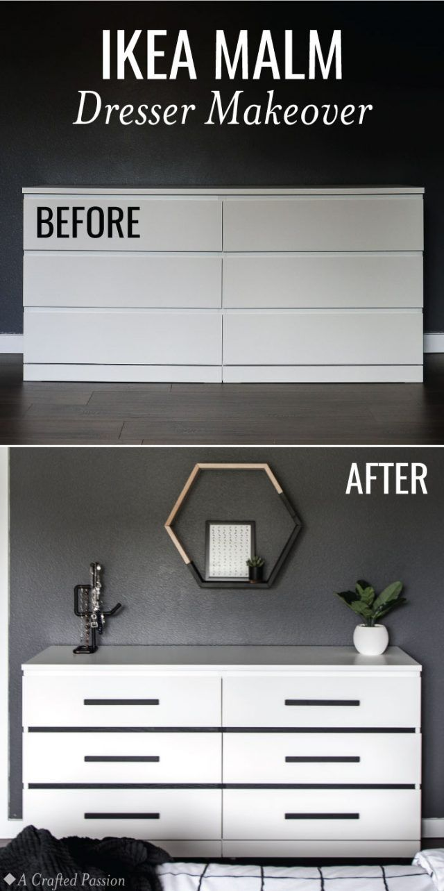 Makeover a simple IKEA Malm dresser into a modern dresser perfect for your bedroom. This before and after is incredible and so easy! #diy #ikea #homedecor #modernhome