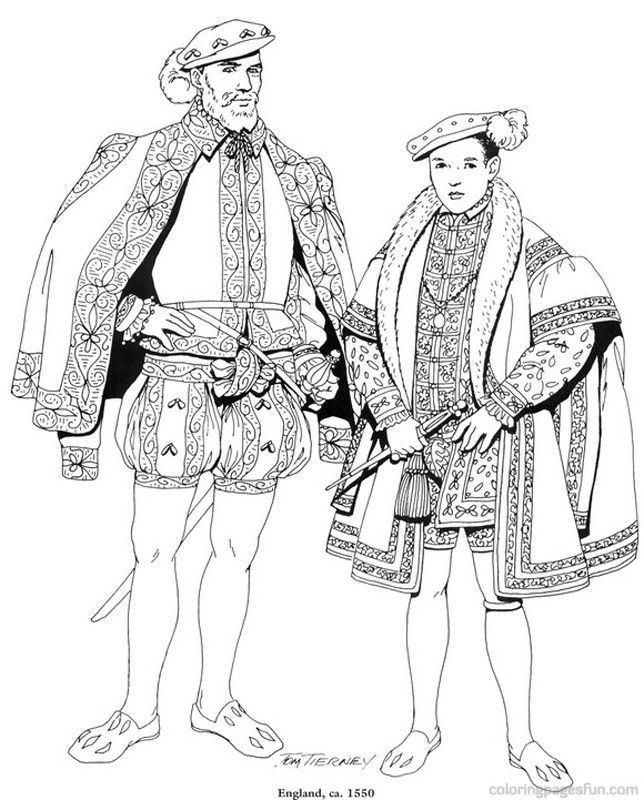 Renaissance Costumes and Clothing Coloring Pages 35 | Social ...