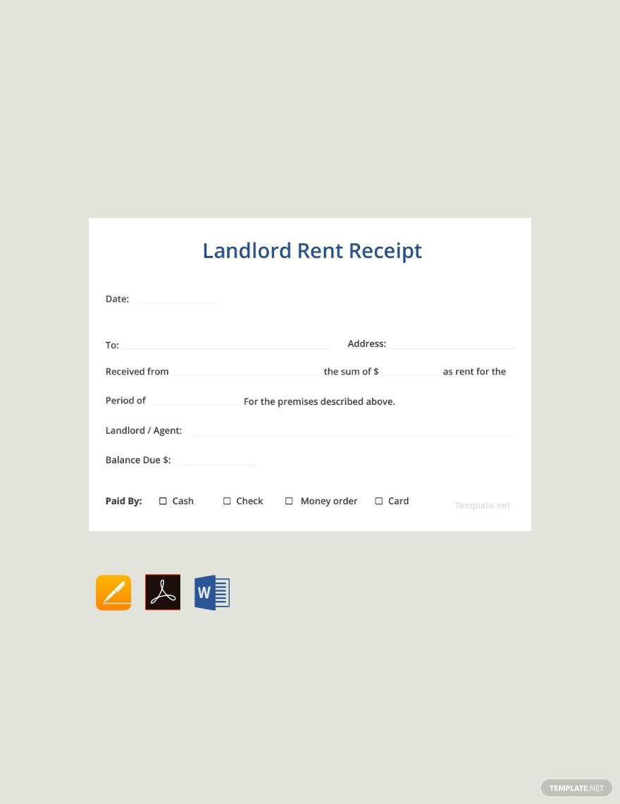 Instantly Download Free Sample Landlord Rent Receipt Template Sample Example In Pdf Microsoft Word Doc Microsoft Being A Landlord Receipt Template Words
