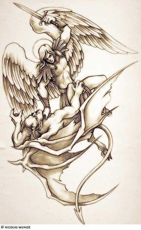 Angel Vs Demon Sketch Tatuaje De Angel Tatuaje Angel Tatuajes De Angeles Guerreros