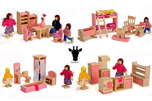 Miniature Bathroom// Kid Room// ... Giraffe 4 Set Pink Wooden Dollhouse Furniture