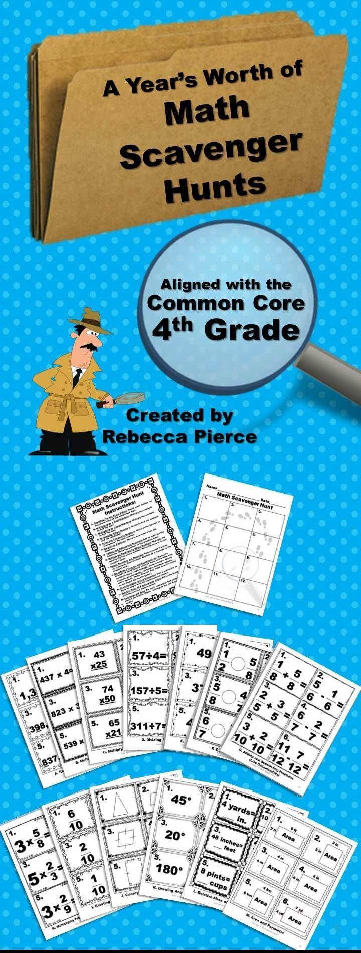 A Year\'s Worth of Math Scavenger Hunts: Common Core Aligned for 4th ...