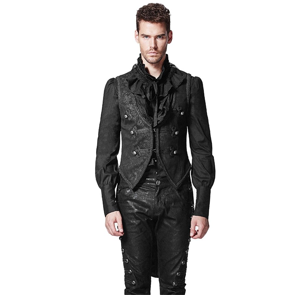 Punk Swallow Tail Long Jacket Gothic Men Formal Vest Coat Sleeveless Back  Detachable Cotton Waistcoat 81765e014e5