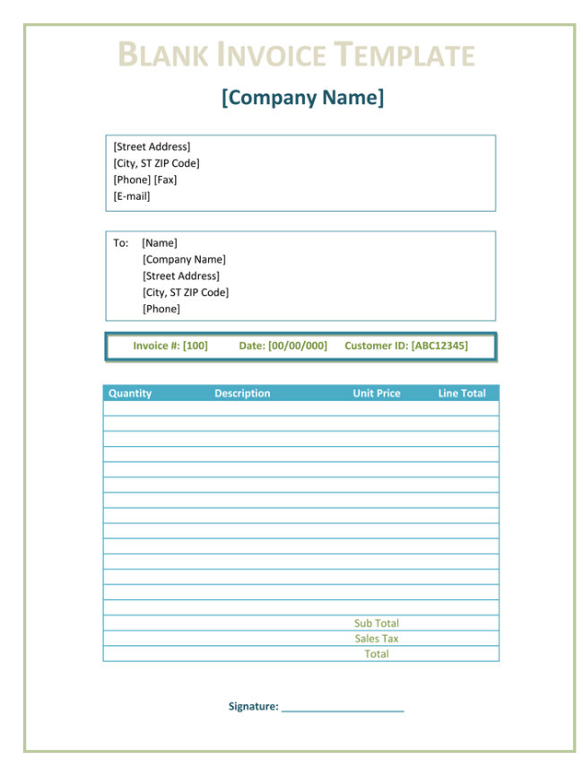 10 Blank Invoice Templates Word Excel Pdf Templates Invoice Template Invoice Template Word Microsoft Word Invoice Template