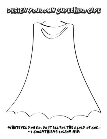 Design Your Own Superhero Cape and Shield Coloring Pages