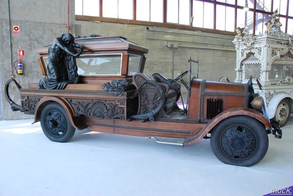 Early 20th century wooden #hearse with skeleton holding on and watching out for the dead