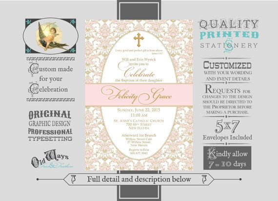 formal baptism invitations for a baby girl pink gold