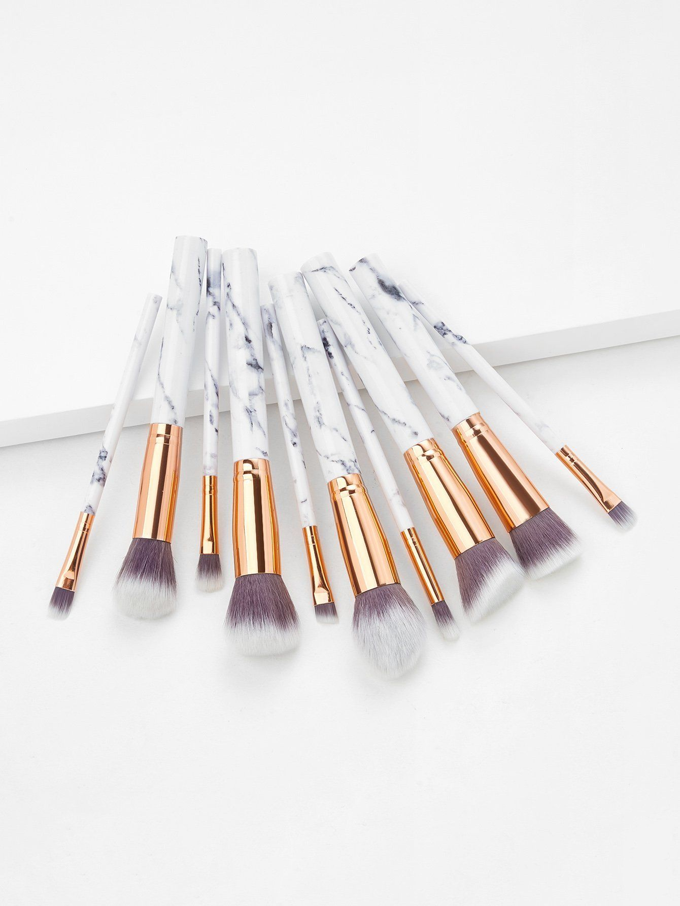 Marble Handle Makeup Brush 10pcs With Bag (With images
