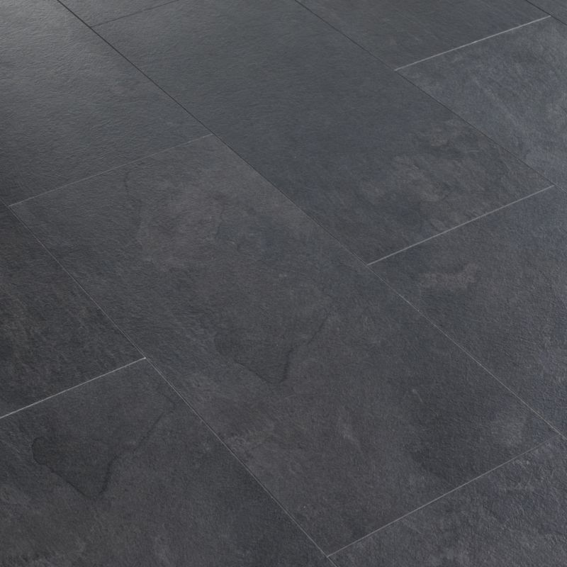 Slate looking laminate flooring black slate tile effect for Grey bathroom laminate flooring