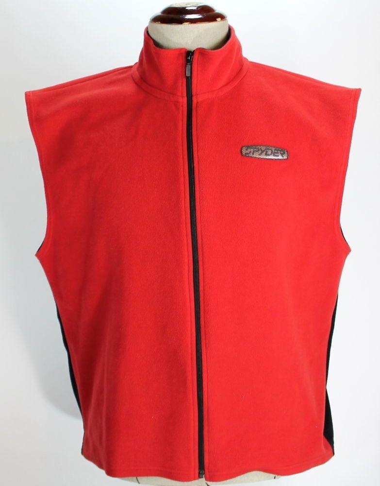 Spyder Full Zip Up Sweater Vest Fleece Red & Black Mens size XL ...