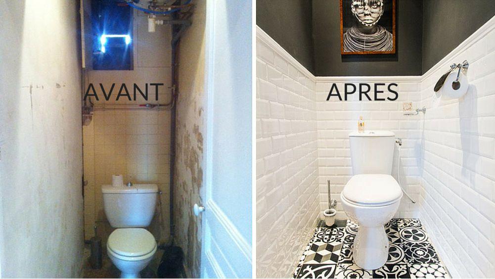 Avant Apres Les Classiques Revisites Dans Un Appartement De Banlieue Parisienne Idee Deco Toilettes Idee Salle De Bain Deco Petit Appartement
