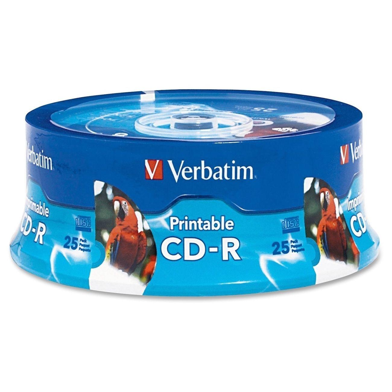 Verbatim dvd rw 4 7gb 4x with branded surface 30pk spindle 4 7gb - Verbatim 80 Minute White Inkjet Printable Hub Printable Recordable Disc Cd R Spindle 96189