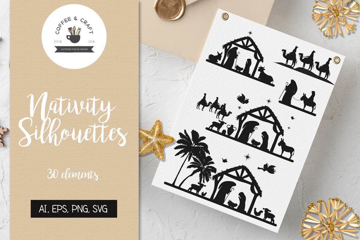 Nativity Silhouettes Nativity silhouette, Design bundles
