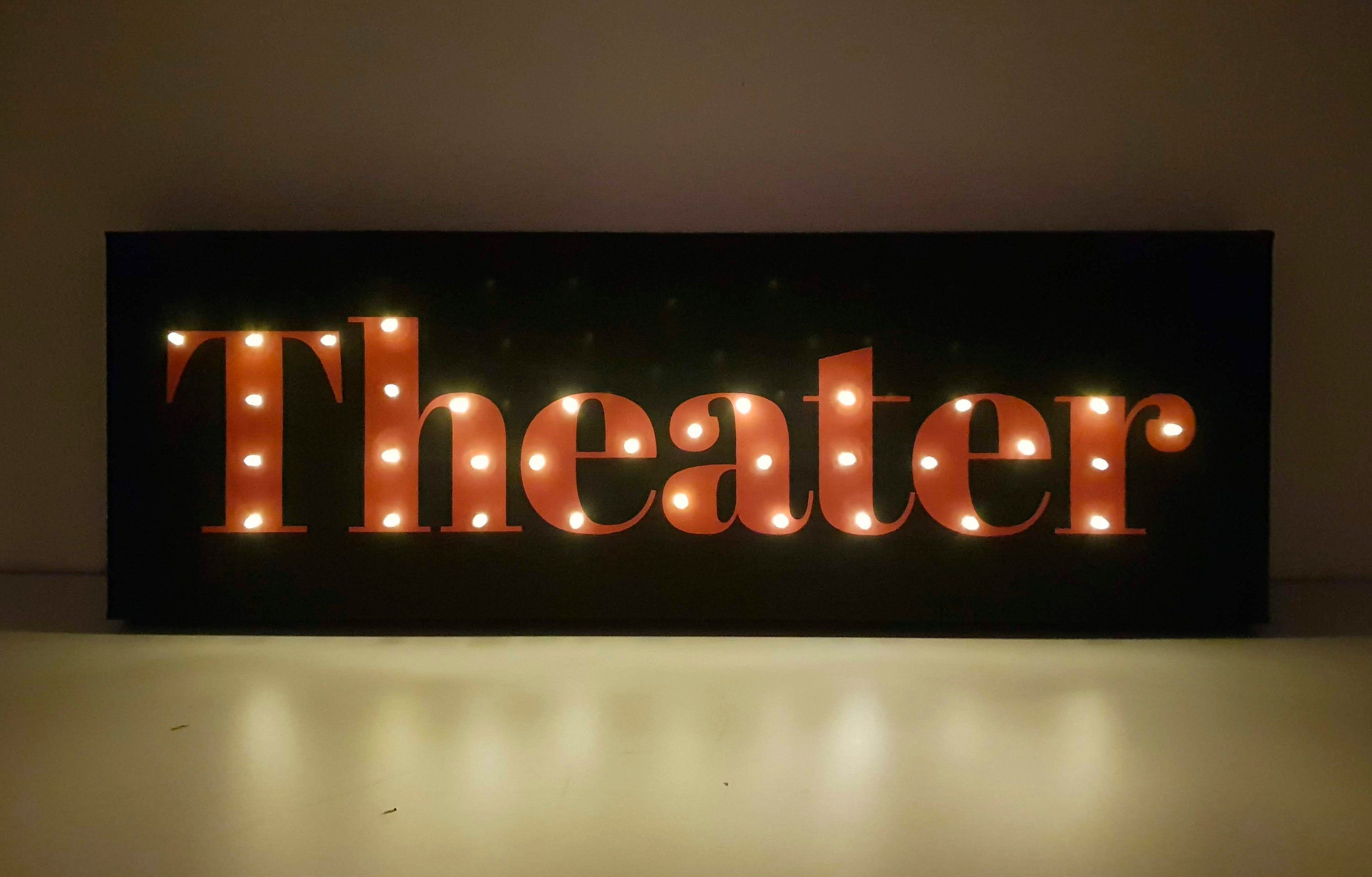 Theater Room Decor, Personalized Theater Sign, Home Theater Decor, Custom sign, Theater Sign, Home Cinema, Marquee light, Light Up Sign, LED - #cinema #CUSTOM #decor #home #LED #light #Marquee #Personalized #room #sign #theater #up