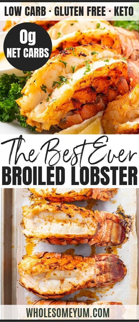 The Best Broiled Lobster Tail Recipe - This guide has all you need to know about cooking lobster tails - how to prepare lobster tails (butterfly them), how to cook lobster tails, and the BEST broiled lobster tail recipe - all in just 20 minutes! #wholesomeyum #seafood #seafoodrecipes #lobster #keto #ketorecipes #lowcaarb #lowcarbrecipes #datenight #holidaydinner
