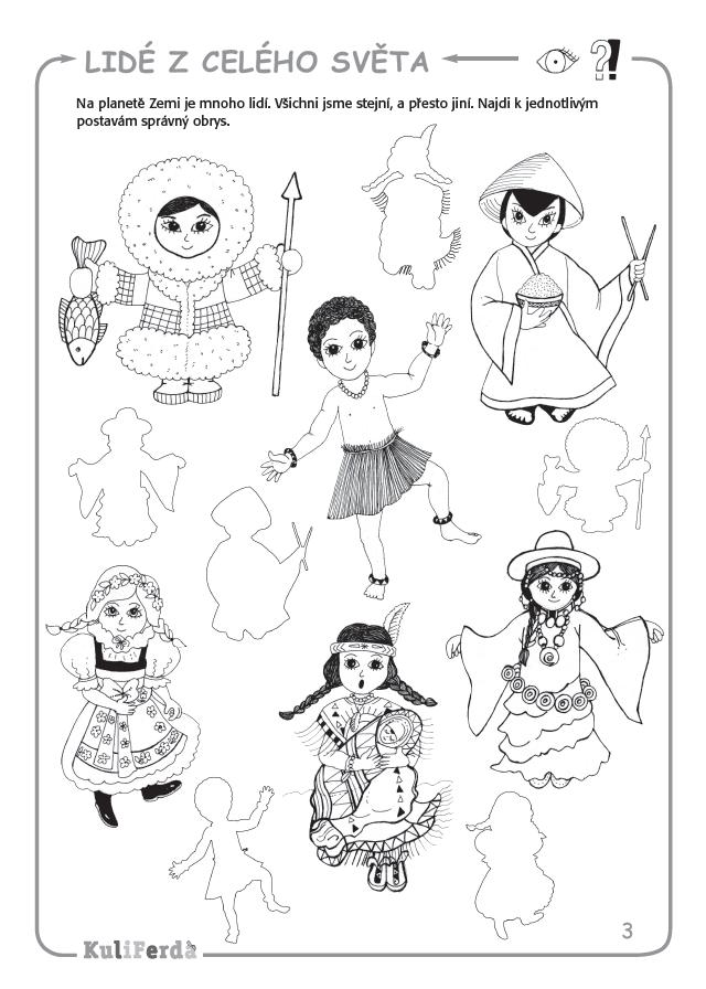 Lidé z celého světa - Pracovní sešit pro předškoláky KuliFerda   Animal  icon, Coloring pages, Activity sheets
