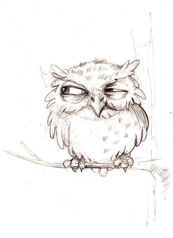 Картинки смешных сов нарисованные карандашом, про