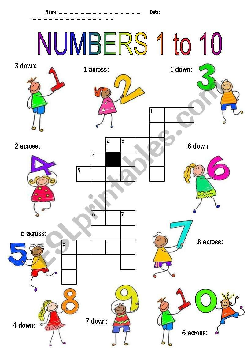 Numbers 1 10 Esl Worksheet By Sandyv12 In 2021 Numbers 1 10 Shapes Kindergarten Learning Numbers [ 1169 x 821 Pixel ]