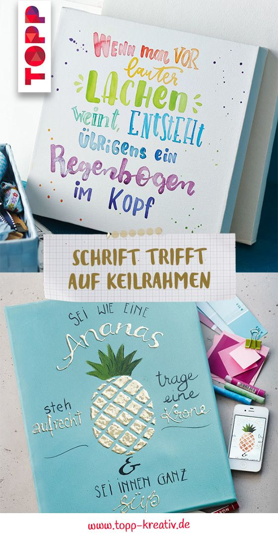 Schrift Trifft Auf Keilrahmen Hand Lettering Happy Paintings
