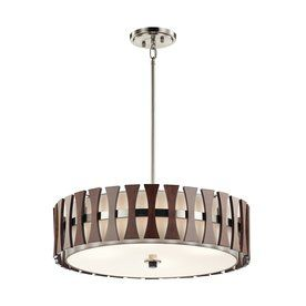 Kichler Lighting Cirus 24 In Auburn Stained Hardwired Single Etched Gl