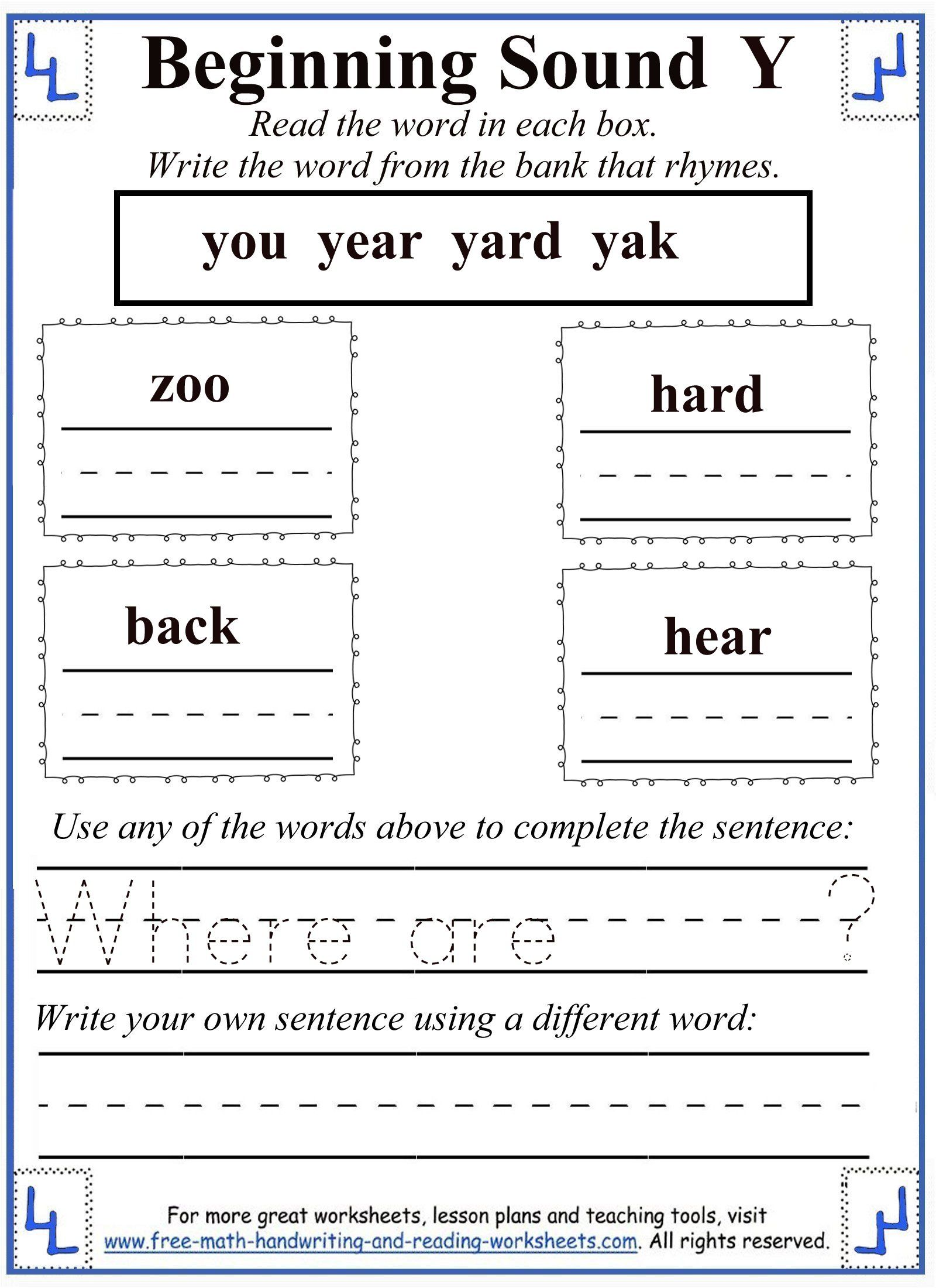 worksheet Letter Y Worksheet rhyming letter y worksheet consonant letters pinterest worksheet