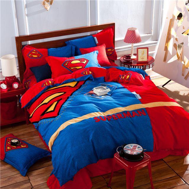 Superman Red Blue Kids Bedding Set King Queen Size Doona Quilt