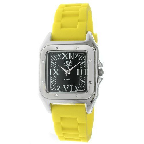 Trax Women's TR5132-BY Posh Square Yellow Rubber Black Dial Watch Trax. $29.99. Water-resistant to 99 feet (30 M). Square case with clear crystal set bezel. Raised silver-tone roman numerals. Stainless steel case-back. Comfortable rubber strap