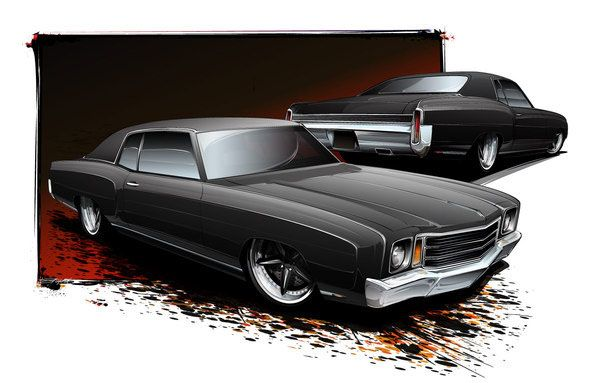1970 Monte Carlo Cartoon Car Drawing Car Cartoon Art Cars
