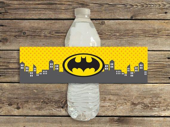 Batman Birthday Party Water Bottle Labels Printable Instant Download Batman Y Batichica Batichica Portadas De Cuadernos