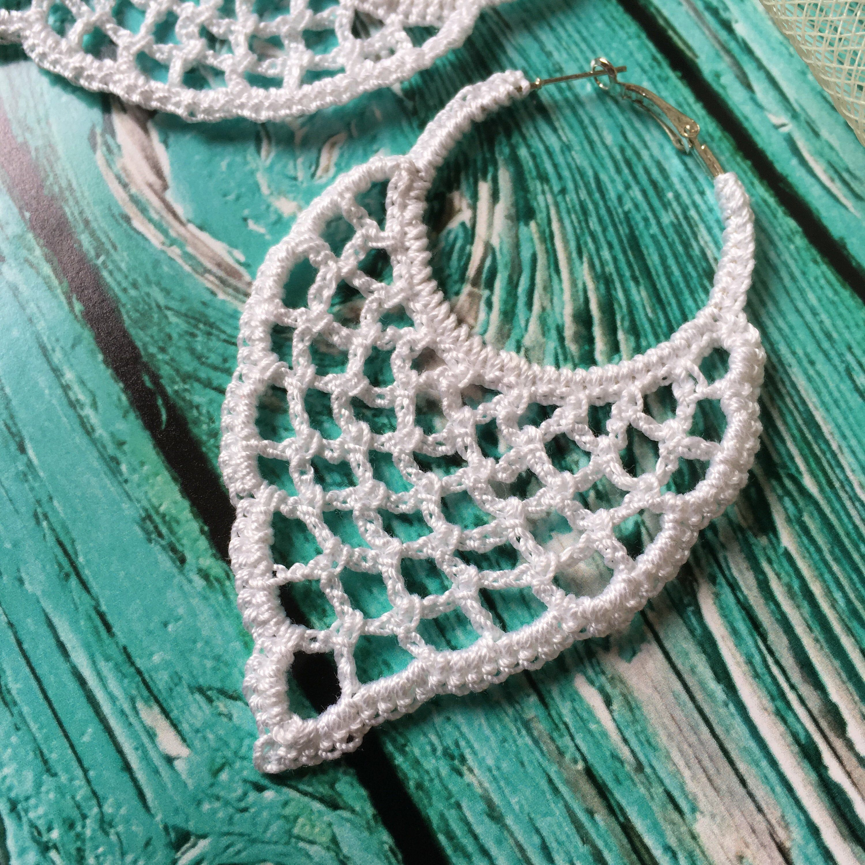 91. ONE Crochet Earrings Pattern, Earring pattern, Crochet Wedding Earrings, Wedding Hoop Earrings Pattern, easy pattern for beginners #crochetedearrings