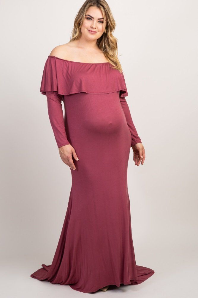 5f9195baaf6 Off Shoulder Plus Size Maternity Maxi Dress for Special Occasions. A solid  hued maternity plus photoshoot gown featuring a cinched elastic off shoulder  ...