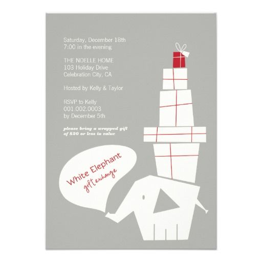 Modern Red Gray White Elephant Gift Exchange Holiday Party Custom