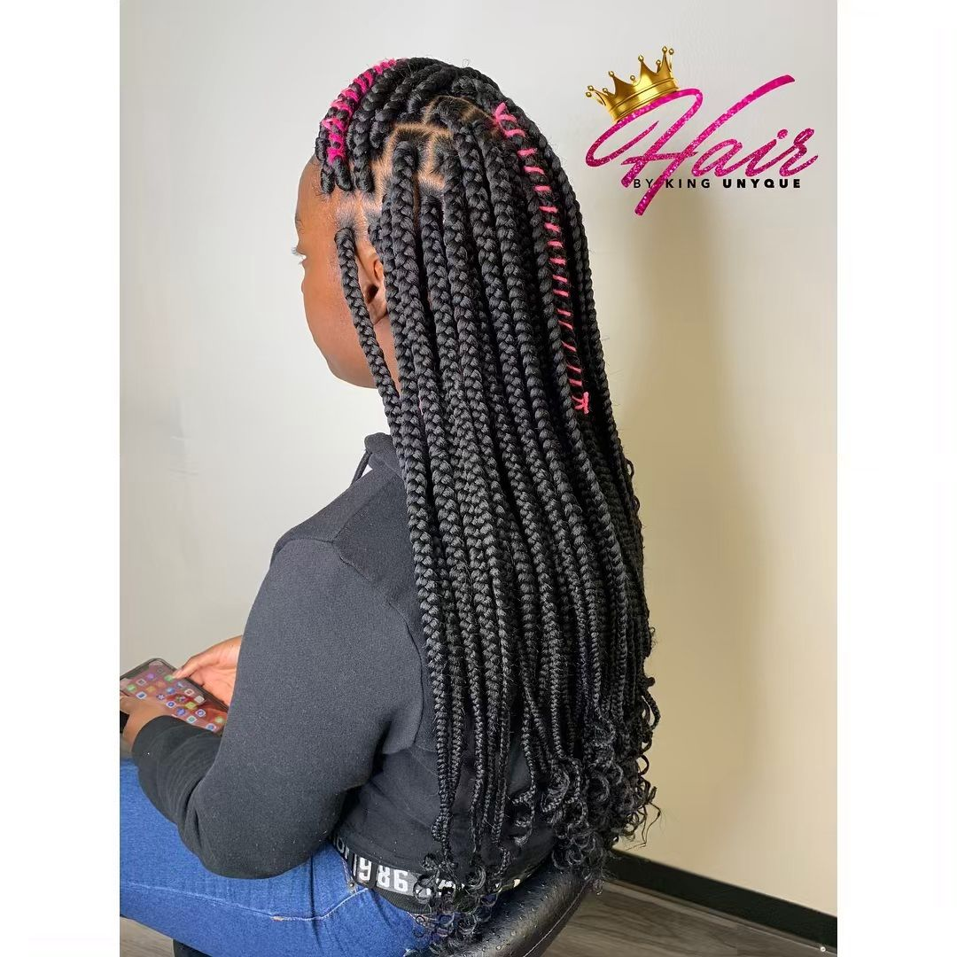King Unyque On Instagram Book This Look Under Small Box Braids With Curly Ends Big Box Braids Small Box Braids Short Box Braids