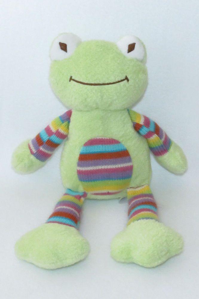 "Animal Adventure Frog Green Bright Sweater Striped Belly Plush 13"" Stuffed 2014  #AnimalAdventure"