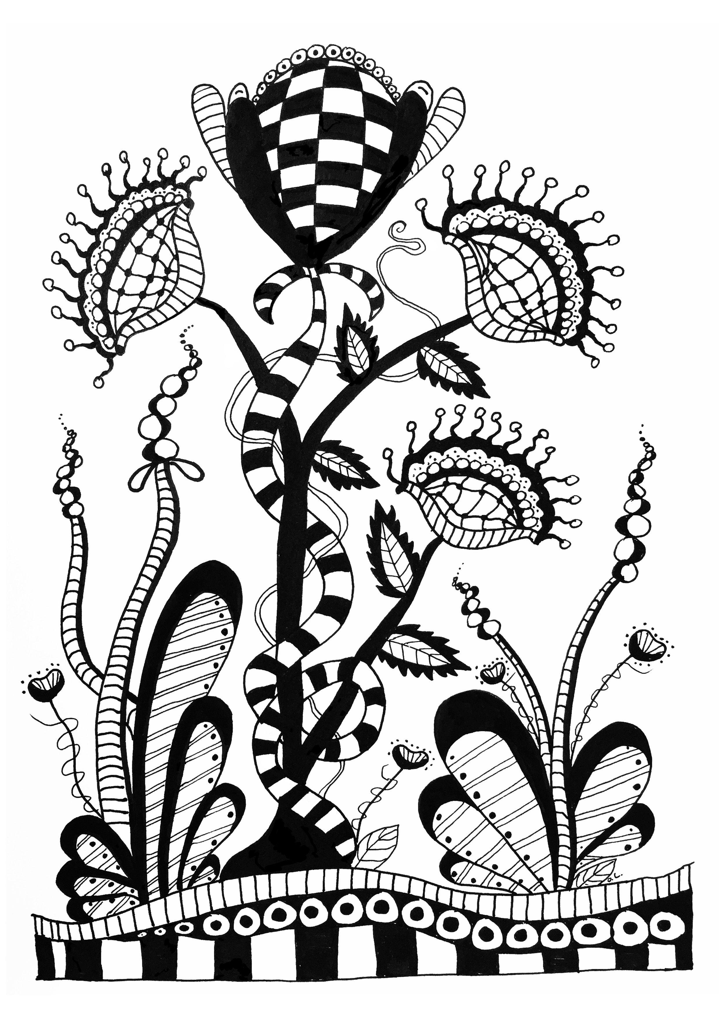 Free Coloring Page Coloriage Zentangle Fleurs Sauvages Par Olivier