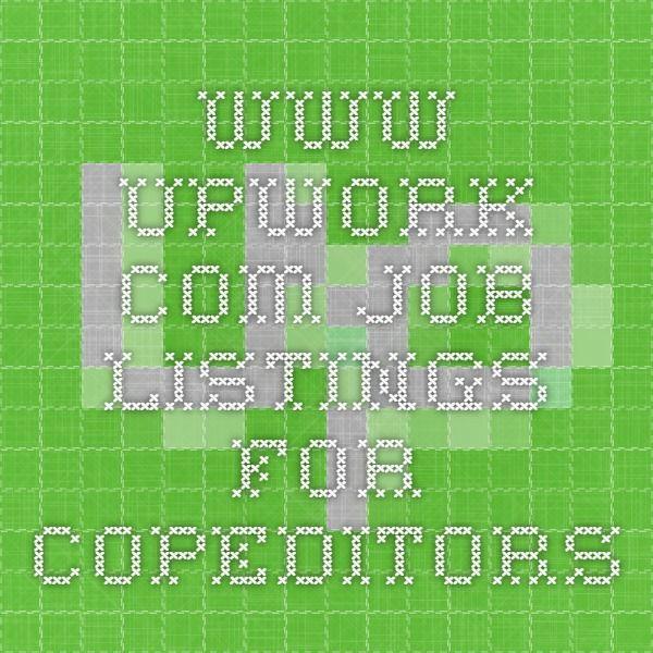 Www.upwork.com Job Listings For Copeditors