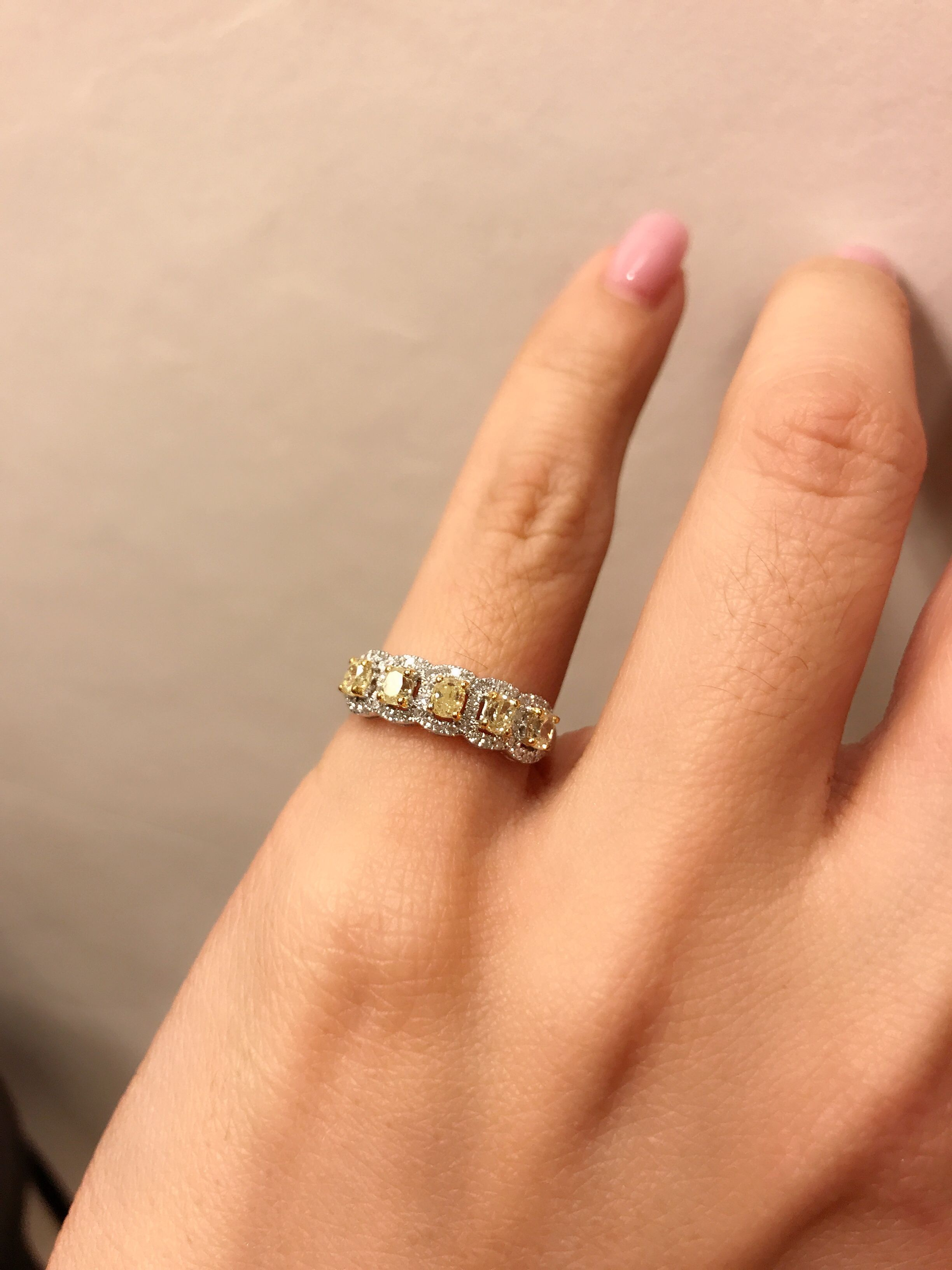 Fancy Yellow Diamond Baby Finger Ring Wedding Ring Finger
