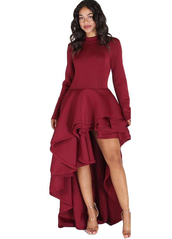 6469d1d418b6a Long Sleeve Peplum Top High Low Maxi Dress_Peplum Dress_Dresses_Sexy ...