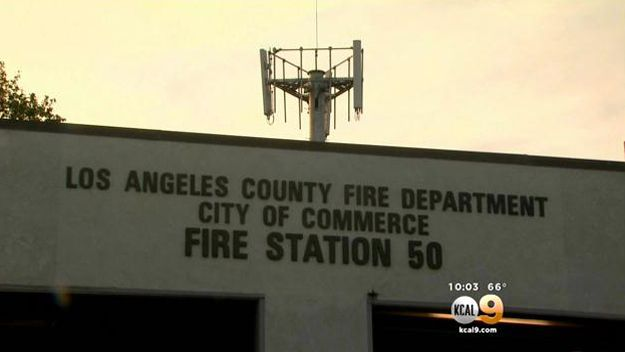 Firefighters rallied outside a Board of Supervisors meeting Tuesday morning in Downtown Los Angeles over cell phone towers they fear pose serious health risks to dozens of L.A. County fire stations.