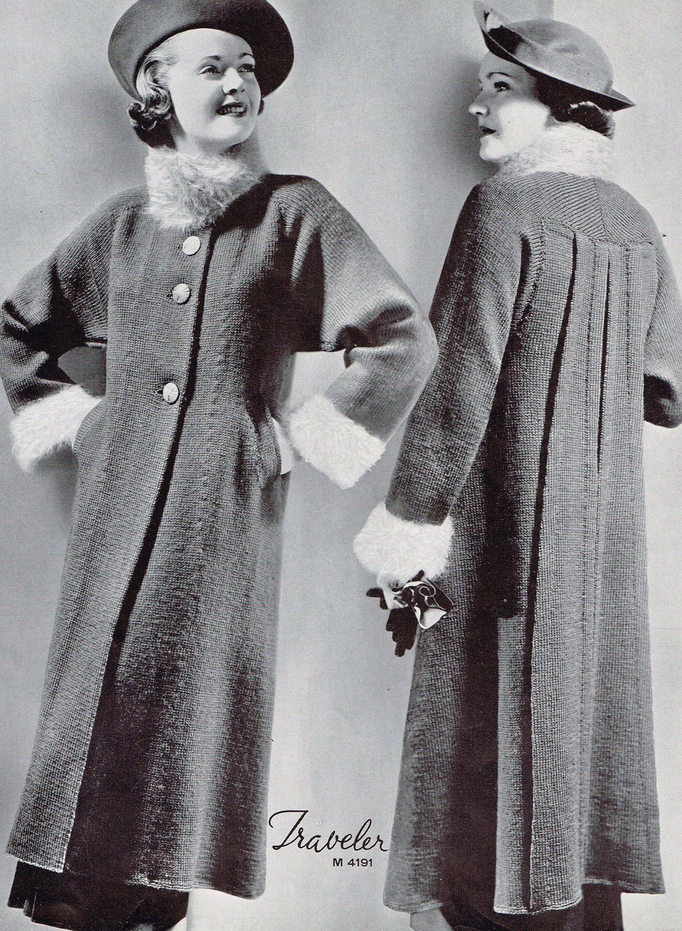 Vintage 1930s Knitting Patterns Women\'s Swagger Coat | 1930s Fashion ...