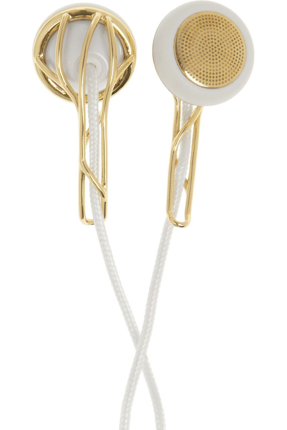 Frends' high-performance 'Ella' earphones deliver authentic, natural sound thanks to a 13mm driver. Handmade with gold-tone metal details, this jewelry-inspired pair is both stylish and functional. We love the fabric-covered cords and handy travel pouch.