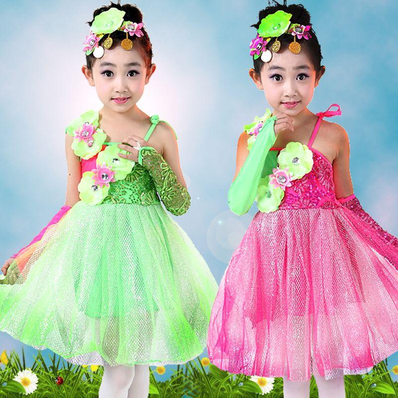 10 cái/lốc miễn phí vận chuyển hoa trang phục múa khiêu vũ cho trẻ em trẻ em cô gái mùa hè công chúa dress sân khấu biểu diễn(China (Mainland))