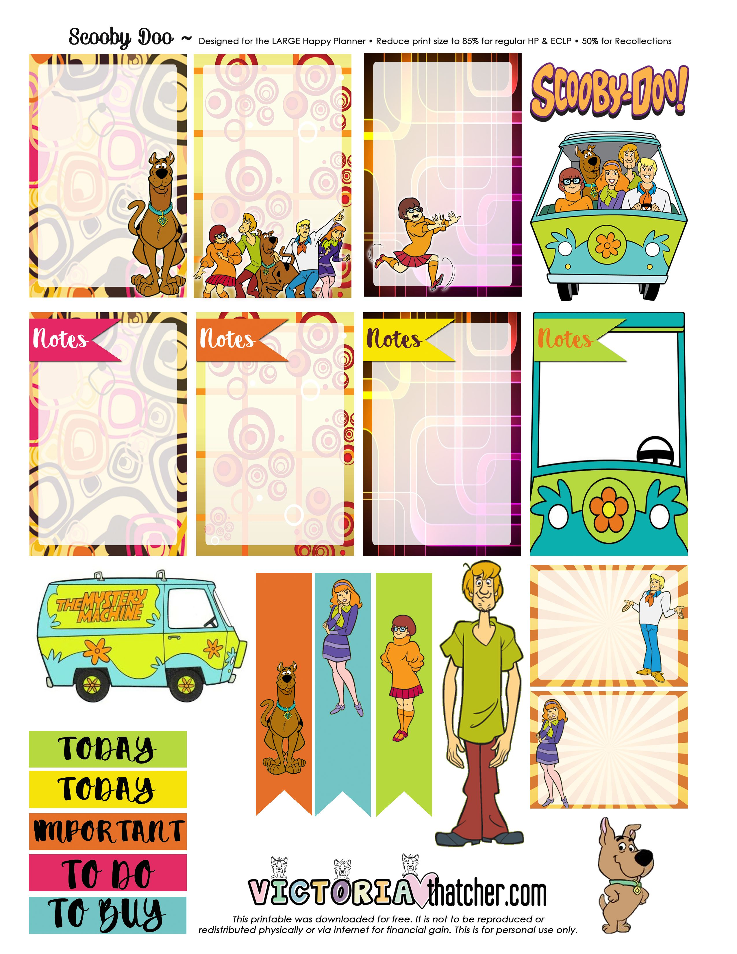 Free Scooby Doo Planner Stickers from Victoria Thatcher | Happy ...