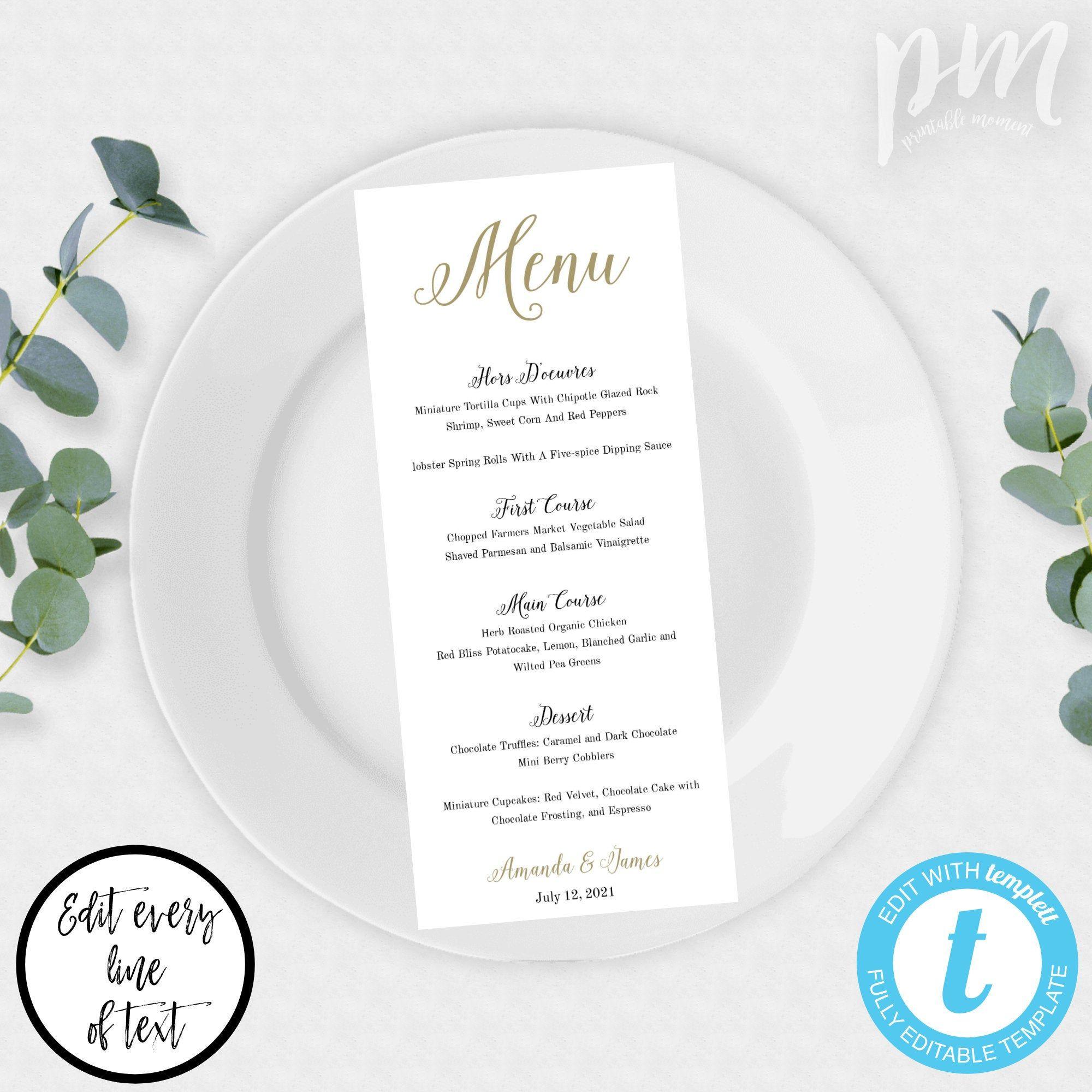 Printable Wedding Menu Template, Printable Menu, Wedding Dinner Menu, Instant Download, DIY Menu, Classic Menu Template, Edit