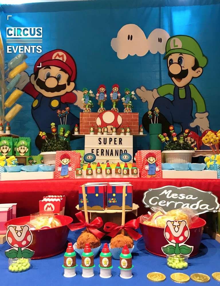 Super Mario Bros Birthday Party Ideas Photo 1 Of 18 Super Mario Bros Birthday Party Mario Bros Birthday Party Ideas Mario Bros Birthday