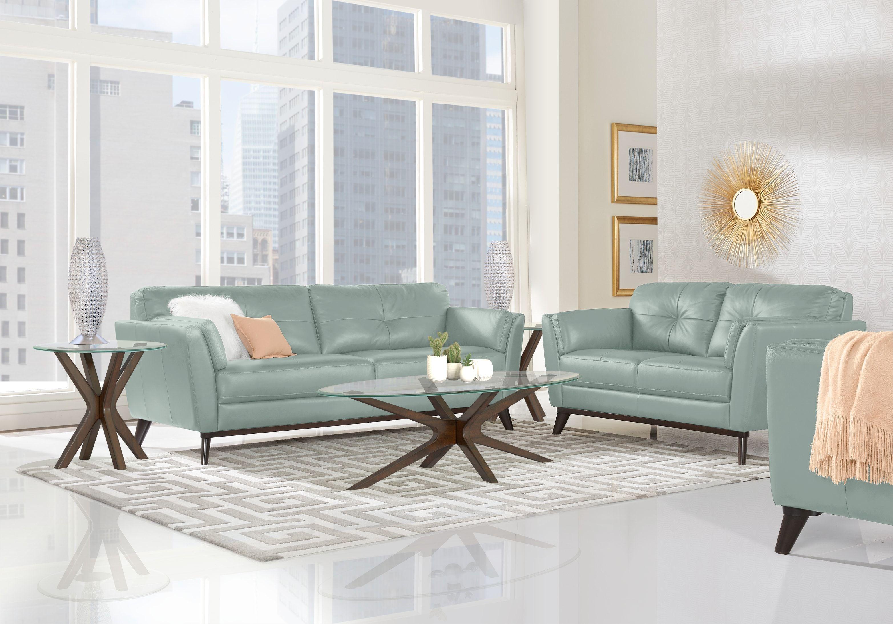Sofia Vergara Gabriele Spa Blue 5 Pc Leather Living Room 2077 0 5pc Set Includes Loveseat So Living Room Sets Furniture Living Room Leather Blue Living Room