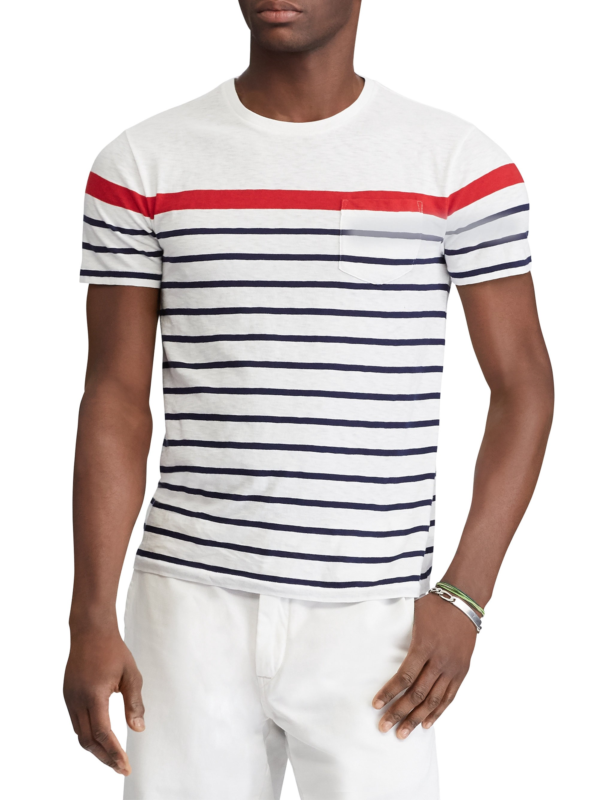 06e63f6d5785 White Striped Slub Jersey Tee by Ralph Lauren in 2019